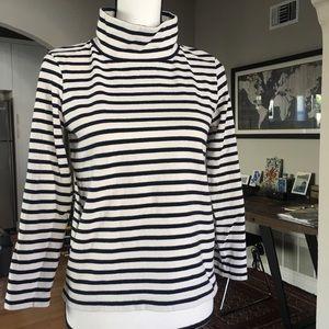 J. Crew Turtle Neck Navy Striped Shirt (XXS)